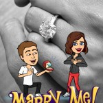 Miranda Kerr announced her engagement to Evan Spiegel in a very Snapchat-y way—with bitmojis and a huge engagement ring on the background! (Photo: Instagram)