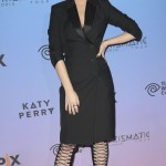 Wearing a head to toe black outfit for the premiere screening of Katy: Perry: The Prismatic World Tour in 2015. (Photo: WENN)