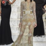 Kendall wearing a La Perla gown made of sheer floral lace and metallic embroidery, covered in crystals and pearls. (Photo: WENN)