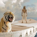 Life of Pi (2012)— Few CGI effects are harder than hair: all those infinitesimal shafts, the light dappling off every one. Which makes it more impressive that Ang Lee set out to make his seaward epic with a digital tiger – a furry costar created entirely from pixels. (Photo: Release)