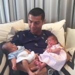The Portuguese athlete welcomed his twins Eva and Mateo back in June. (Photo: Instagram)