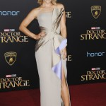 Rachel put a sexy spin on glamour in this Atelier Versace number at the Doctor Strange premiere in California. (Photo: WENN)