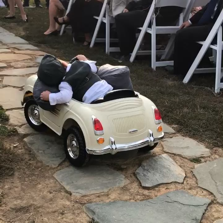 "Maxen's ""milk drunk"" entrance provided a welcomed laugh on his parents' big day! (Photo: Instagram)"