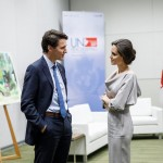A picture of Angelina Jolie's visit to the United Nations Peacekeeping Conference, chatting with Justin Trudeau. (Photo: Instagram)