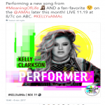 Kelly Clarkson also confirmed her participation at the AMAs through her social network. (Photo: Twitter)
