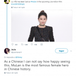 """As a Chinese I cannot say how happy seeing this, MuLan is the most famous female hero in Chinese history,"" another user applauded. (Photo: Twitter)"