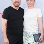 "Comedian Ricky Gervais and Jane Fallon have been together since 1982, and they have no plans to get married. Gervais has stated that ""there's no point"" in having a ceremony before the eyes of God ""because there is no God."" (Photo: WENN)"