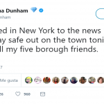 Lena Dunham landed in New York soon after the attack. (Photo: Twitter)