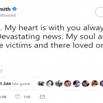 "Sam Smith sent his love to the victims of this ""horrific"" attack. (Photo: Twitter)"