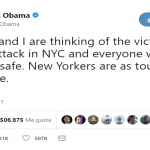 """New Yorkers are as tough as they come,"" former president Barack Obama posted on Twitter. (Photo: Twitter)"