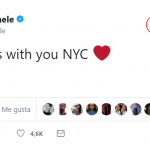 "Lea Michele wrote, ""My heart is with you NYC."" (Photo: Twitter)"