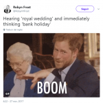 "The first thing that crossed my mind when I heard ""royal wedding"". (Photo: Twitter)"