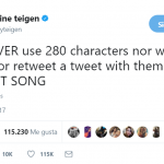 Chrissy Teigen is leading the (fake) protest on Twitter's 280-character limit. (Photo: Twitter)