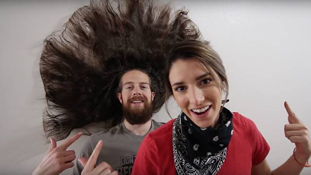 Bryce and Nellie Jurgensmeier, The Jurgys, tried 100 layers of hairspray on his beautiful long hair. (Photo: YouTube)