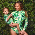 Nothing says mommy and daughter like Chrissy Teigen and Lunda's avocado-printed unitards. (Photo: Instagram)