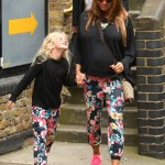 Katie Price and her daughter Princess have a matching-leggings level mother and daughter bond. (Photo: WENN)