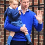 Princess Charlotte probably thought she had older twin brothers when she first met Prince William and Prince George in this blue matching outfits. (Photo: WENN)