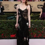 Stepping out for the SAG Awards in a black floral Alexander McQueen gown. (Photo: WENN)