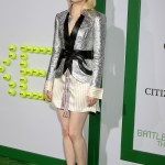 Emma Stone in striped shirt-dress beneath silver sequin Loui Vuitton blazer and chrome stilettos for LA premiere of Battle of the Sexes. (Photo: WENN)