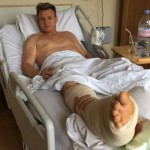 """Gordon Ramsay shared a snap from his hospital bed last year. """"I'm not good at laying down. Now I've got no choice, need to sit still!!!"""", he wrote. (Photo: Instagram)"""