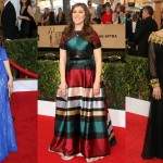 Find inspiration for a demure wardrobe in our photo gallery above with the 19 best modest red carpet looks by Mayim Bialik! (Photo: WENN)
