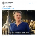 The Force is one with our beloved Carrie Fisher. (Photo: Twitter)
