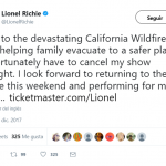 """I unfortunately have to cancel my show tonight. I look forward to returning to the stage this weekend and performing for my fans,"" Lionel Richie said to his follower on Twitter. (Photo: Twitter)"
