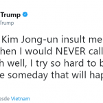Trump provoking a nuclear-armed adversary with the skill and subtlety of a second grader. (Photo: Twitter)