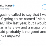 """Trump claims he was offered TIME """"Person of the Year"""" when he absolutely wasn't. (Photo: Twitter)"""