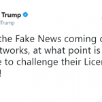 Trump openly suggesting to revoke the broadcast licenses of networks that criticize him. (Photo: Twitter)