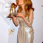 Celine Dion celebrating her Bambi win at the 2012 ceremony. (Photo: WENN)