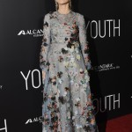 "Fonda wore a heavily appliqued and embroidered Valentino gown from the luxury fashion house's resort 2016 collection at the ""Youth"" Los Angeles premiere. (Photo: WENN)"