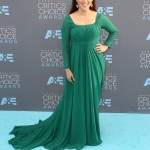 """The Big Bang Theory"" actress opted for an emerald green dress as she arrived to the 2016 Annual Critic's Choice Awards. (Photo: WENN)"