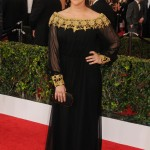 Bialike arrived at the 22nd Annual Screen Actors Guild Awards in a black long-sleeved gown with gold embellishment. (Photo: WENN)