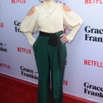 Fonda positively glowed in a cutaway white blouse and green flowy trousers as she attended the Grace and Frankie Season 2 premiere in Los Angeles. (Photo: WENN)