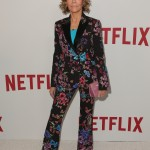 "The actress looked wowed in an eye-catching floral suit by Zuhair Murad at the Netflix luncheon celebrating the ""rebels and rule breakers"" of 2016. (Photo: WENN)"