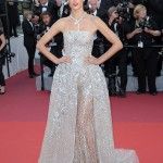 Alessandra Ambrosio looked fabulous in a shimmering semi sheer Zuhair Murad Couture silver dress embellished with sparkling sequins at the 2016 Cannes Film Festival.