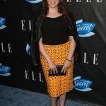 Mayim wore an eye-catching patterned skirt with a plain black top and a leather jacket draped over her shoulders for the Elle Women In Comedy 2016 celebration. (Photo: WENN)