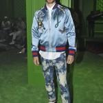Taking in the 2017 Gucci show from the front row was Jared Leto, wearing an embroidered silk bomber jacket and acid bleached jeans. (Photo: WENN)