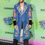 Jared wore a Gucci Spring 2017 denim coat with heavy floral embroidery at the Suicide Squad World premiere. (Photo: WENN)