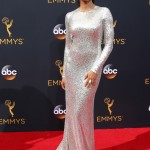 Top Chef host Padma Lakshmi wowed in a long-sleeve silver sequined gown by Naeem Kahn at the 2016 Emmy Awards. (Photo: WENN)