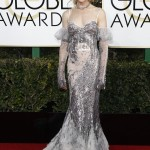 Nicole Kidman stepped out in an ethereal Alexander McQueen gown featuring sequined sleeves at the 2017 Golden Globes. (Photo: WENN)