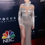 Kylie Jenner stunned in a metallic La Bourjoisie silver dress at the Golden Globes 2017 after party. (Photo: WENN)