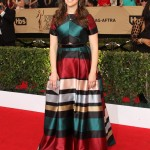 Mayim Bialik looked as elegant as ever in a multicoloured gown for the 2017 SAG Awards. (Photo: WENN)