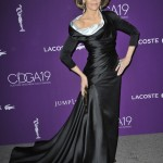 Timeless Jane Fonda stunned in a silky black dress with an asymmetrical neckline and fitted waist Versace gown at the 19th Costume Designers Guild Awards. (Photo: WENN)