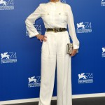 The iconic star looked head-to-toe chic at the Venice Film Festival in her all-white jumpsuit from the Alberta Ferretti resort 2017 collection, that she paired with a belt and high heels. (Photo: WENN)