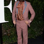 Jared Leto stood out in a plaid Gucci suit, Gucci patterned tie neck shirt, and a pair of Gucci embroidered floral leather strap shoes. (Photo: WENN)