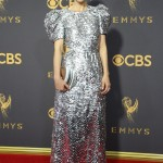 Sarah Paulson arrived in a silver sequined Carolina Herrera dress at the Emmy 2017 red carpet. (Photo: WENN)