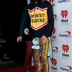 Jared Leto rocked a pair of gold glitter pants, a Gucci hoodie and Gucci silver sneakers at the 2017 iHeartRadio music festival. (Photo: WENN)