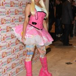Hello Kitty on her beret, Barbie on her skirt, and Trolls on her stockings. Pick a cartoon, Nicki! (Photo: WENN)